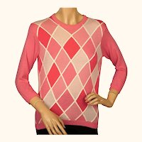 Vintage 1960s Ballantyne Pink Argyle Scottish Cashmere Sweater Pullover Ladies S /M