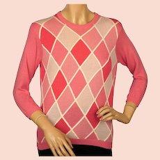 Vintage 1960s Ballantyne Pink Argyle Scottish Cashmere Sweater Pullover Ladies M