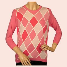 Vintage 1960s Ballantyne Pink Argyle Scottish Cashmere Sweater Pullover Ladies S /M