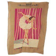 Vintage 50s 60s Petit Point Needlepoint Ballerina Pink Margot de Paris Large 24""