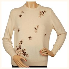 Vintage 1960s Cashmere Pullover Sweater with Embroidered Daisies Ladies M