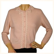 Vintage 1960s Ballantyne Scottish Cashmere Sweater Pink Cardigan Ladies M