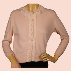 Vintage 1960s Ballantyne Scottish Cashmere Sweater Pink Cardigan Ladies M