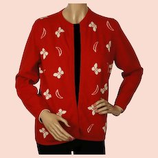Vintage 1960s Red Scottish Cashmere Sweater with Butterfly Pattern Ladies M