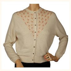Vintage 1950s Ballantyne Cashmere Sweater Beaded Embroidered Cardigan Ladies M
