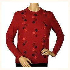 Vintage 1960s Red Cashmere Pullover Sweater with Leaf Pattern Ladies M