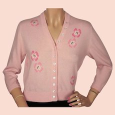 Vintage 1960s Ballantyne Scottish Cashmere Intarsia Sweater Pink Poppies Sz M 36