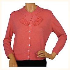 Vintage 1960s Ballantyne Scottish Cashmere Sweater Salmon Pink Cardigan Size M