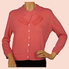 Vintage 1960s Ballantyne Scottish Cashmere Sweater Salmon Pink Cardigan Size M
