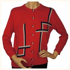 Vintage 1950s Pringle Scottish Cashmere Sweater Red Intarsia Cardigan Ladies M