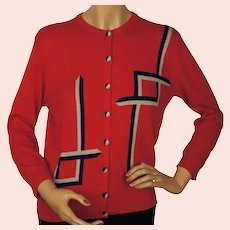 Vintage 1950s Pringle Scottish Cashmere Sweater Red Intarsia Cardigan Ladies M