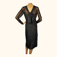 Vintage 1950s Black Silk Cocktail Dress  - Miss KK Size L