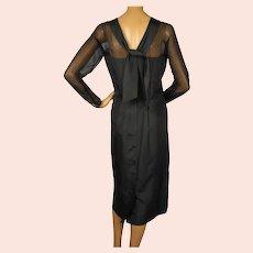 Vintage 1950s Black Silk Cocktail Dress  - Miss KK Size L