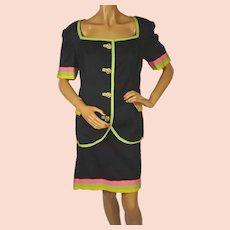Vintage 1980s Black Silk Suit - Haute Couture - Narakas - Paris - Large
