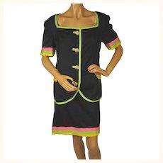 Vintage 1980s Woven Black Silk Suit - Haute Couture - Narakas - Paris - Large