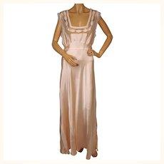 Vintage 1940s Pink Rayon Satin Nightgown - Large