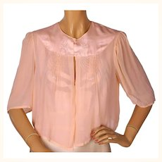 Vintage 1930s Silk Chiffon Bed Jacket with Embroidery - S