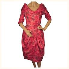Vintage 1950s Silk Party Dress Pink Rose Print - Size M