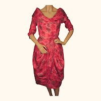 Vintage 1950s Silk Party Dress Pink Rose Print - Size M
