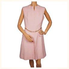 Vintage 1960s Pink Wool Gabardine Chain Belt Shift Dress - M