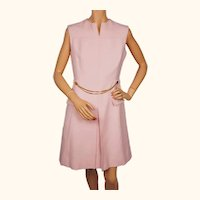 Vintage 1960s Pink Wool Gabardine Chain Belt Shift Dress - M