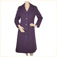 Vintage 1960s Purple Wool MOD Coat - Size S