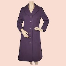 Vintage 1960s Purple Wool MOD Coat - Size S