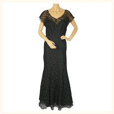 Vintage 1930s Evening Gown Black Chantilly Lace Dress Fishtail Ball Gown Sz M L
