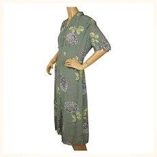 Vintage 1940s Crepe Day Dress Floral Print Size Large
