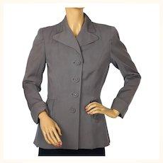 Vintage 1940s Ladies Suit Jacket Grey Gabardine WWII Era Size M