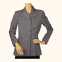 Vintage 1940s Ladies Suit Jacket Grey Gabardine WWII Era Size M
