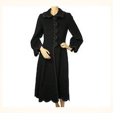 Vintage 1950s Black Wool Coat Haute Couture Frank Oujezdsky Montreal Ladies S