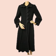 Vintage 1950s Black Wool Coat Haute Couture Frank Oujezdsky Montreal Ladies S