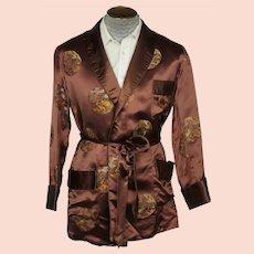 Vintage 1960s Brown Satin Smoking Jacket Wong Sons Shanghai China Size 40