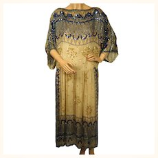 Vintage 1970s Judith Ann Creations Indian Silk Dress Sequinned Beaded Size M
