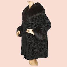 Vintage 1950s Black Tapestry Coat Velourette by Entire w Fox Fur Trim Ladies L XL