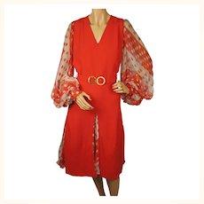 Vintage 1960s Red Crepe Dress Marie Martine Paris Fashion House Size M