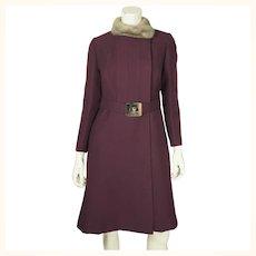 Vintage 1960s Mod Purple Wool Coat by Joshar Montreal Ladies Size S