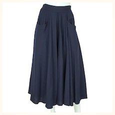 """Vintage 1980s Full Skirt Blue Wool Holt Renfrew Canada 27"""" W"""