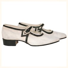 Vintage 1920s Flapper Shoes Canvas & Leather with Box Smart Step Canada Size Small