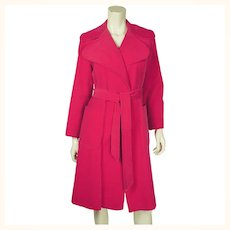 Vintage Hot Pink Velvet Coat by Rainmaster 1970s Canadian Designer Marielle Fleury Sz 12