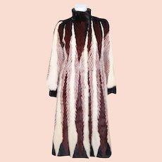 Vintage Herringbone Mink Coat Dyed Pattern Red White Black Size Medium