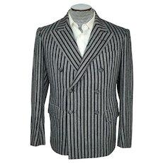 Vintage 1930s Mens Suit Jacket Grey & Black Striped Size M