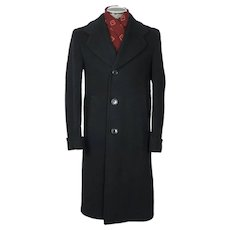 Vintage 1940 Mens Wool Overcoat Black Coat by Supercraft Montreal Size M
