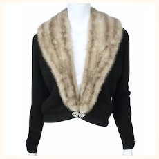 Vintage 1950s Black Cashmere Sweater with Mink Collar Bernhard Altmann Ladies M