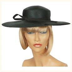 1970s Black Straw Hat - Wide Brim - Made in England - Marida