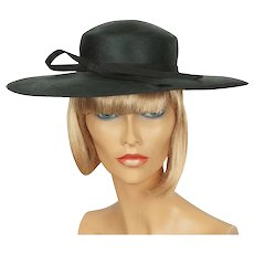 1970s Black Straw Hat - Wide Brim - Made in England - Marida