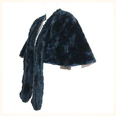 Vintage 1950s Blue Mole Fur Cape or Stole