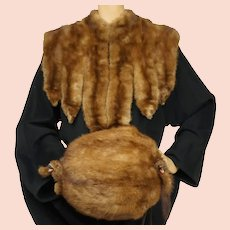 Victorian Mink Fur Collar and Muff Set