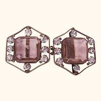 Art Deco Pink Stone Rhinestone Belt Buckle 1920s 30s